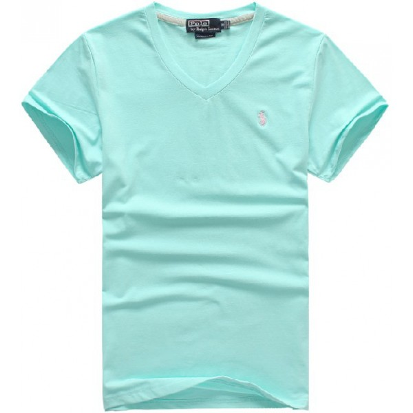 Polo Ralph Lauren New v neck slim fit pure cotton men tee polo in light blue