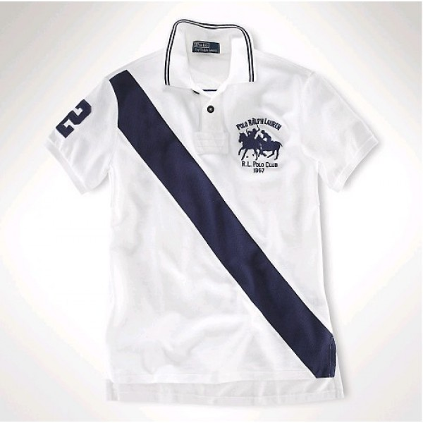 Polo Ralph Lauren Classic-Fit Dual Match Striped Polo White Navy