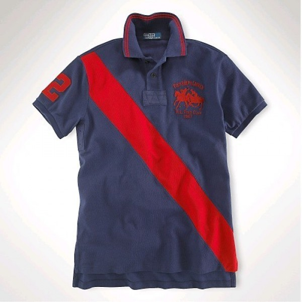 Polo Ralph Lauren Classic-Fit Dual Match Striped Polo Navy Red