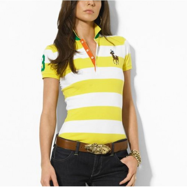 Polo Ralph Lauren Classic-Fit Striped Polo Yellow White