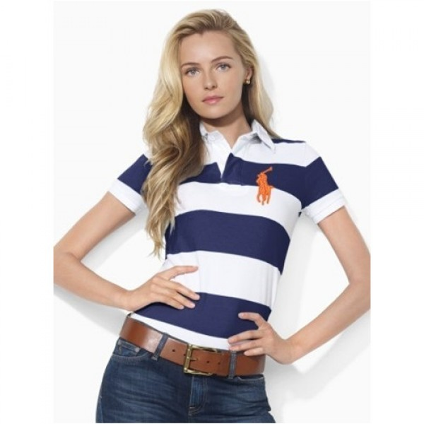 Polo Ralph Lauren Short-Sleeved Striped Polo French Navy White