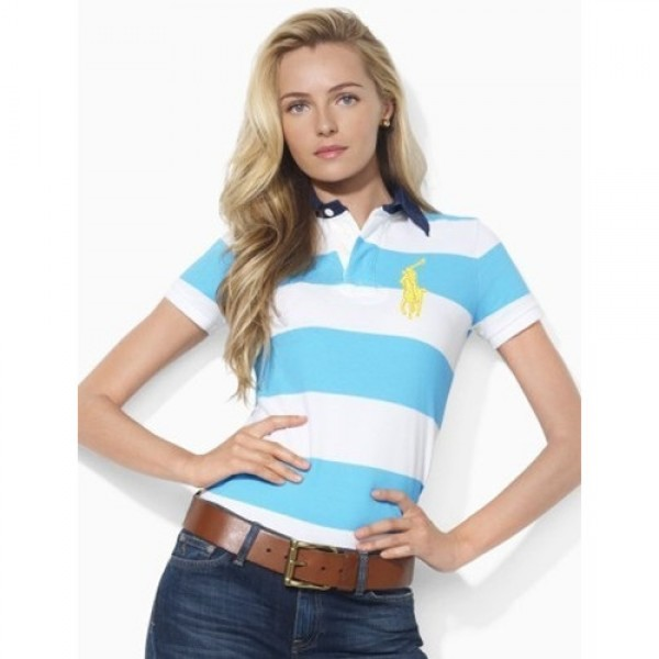 Polo Ralph Lauren Short-Sleeved Striped Polo French Turquoise White