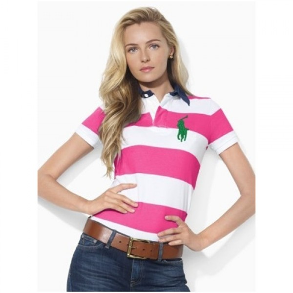 Polo Ralph Lauren Short-Sleeved Striped Polo Pink White