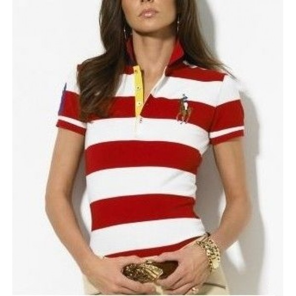 Polo Ralph Lauren Classic-Fit Striped Polo Red White