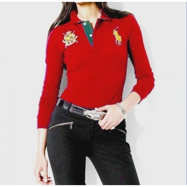 Polo Ralph Lauren Womens Bright Red Long Sleeve Polo In New