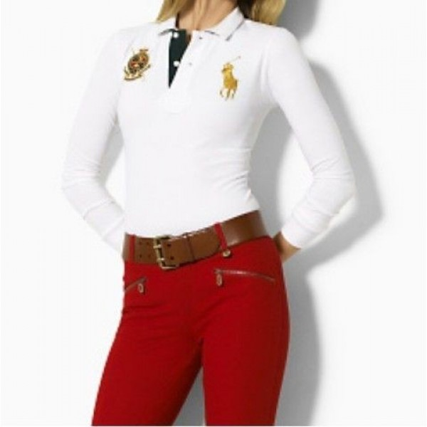 Polo Ralph Lauren Womens Snowy White Long Sleeve Polo In New